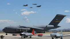 A C-17 and USAF Heritage Flight at March Airfest 2010.