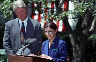 Ginsburg accepting her nomination from Bill Clinton
