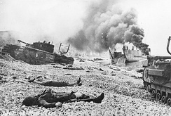 Soldiers' corpses from the 2nd Canadian Infantry Division following the Dieppe Raid