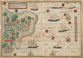 Portuguese map by Lopo Homem (c. 1519) showing the coast of Brazil and natives extracting brazilwood, as well as Portuguese ships.