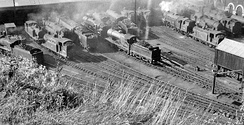 Brighton Locomotive Depot seen from above 11 July 1954
