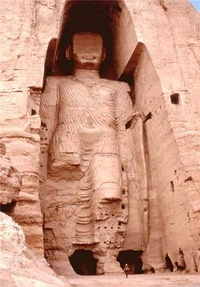 The taller Buddha of Bamiyan. Buddhism was widespread before the Islamic conquest of Afghanistan.
