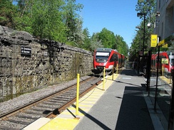 The Trillium Line in Ottawa was built along a freight railway and is still occasionally used by freight traffic overnight.