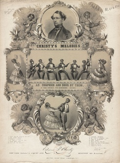 Sheet music cover for a collection of songs by Christy's Minstrels, 1844. George Christy, the stepson of Edwin P. Christy appears in the circle at top.