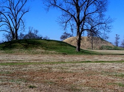 Platform mounds, such as this one at Toltec Mounds near Scott, were constructed frequently during the Woodland and Mississippian periods