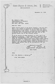 "Flood's letter to Bowie Kuhn in December 1969. Flood states, ""I do not feel that I am a piece of property to be bought and sold irrespective of my wishes."" He then states that the Phillies have offered him a contract, but ""I believe I have the right to consider offers from other clubs before making any decisions."""