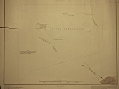 1:5260 of Custer battlefield — surveyed 1891, detailing U.S. soldiers body locations