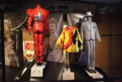 Variety of Bowie's outfits on display at the Rock and Roll Hall of Fame