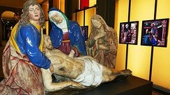 The dead Christ with the Virgin, St. John and St. Mary Magdalene, painted terracotta sculpted by Andrea della Robbia or workshop in 1515.