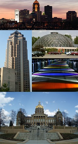 Clockwise from top: skyline, the Greater Des Moines Botanical Garden, the Kruidenier Trail bridge, the Iowa State Capitol, and 801 Grand (Principal Financial Group)