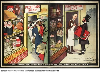 Political poster from the British Liberal Party displaying their views on the differences between an economy based on Free Trade and Protectionism. The Free Trade shop is shown as full to the brim with customers due to its low prices. The shop based upon Protectionism is shown as suffering from high prices and a lack of customers, with animosity between the business owner and the regulator.