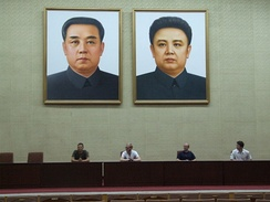 Portraits of Kim Jong-il and his father in the Grand People's Study House in Pyongyang