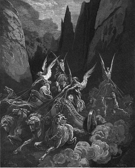 Zechariah's vision of the Four Horsemen of the Apocalypse,[13] engraving by Gustave Doré.