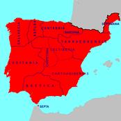 Вестготское королевство в 700 году, перед арабским завоеванием.