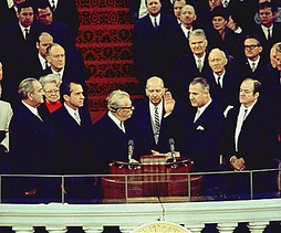 Four vice presidents: (from left) outgoing president Lyndon B. Johnson (the 37th vice president), incoming president Richard Nixon (36th), (Everett Dirksen administering oath), incoming vice president Spiro Agnew (39th), and outgoing vice president Hubert Humphrey (38th), January 20, 1969