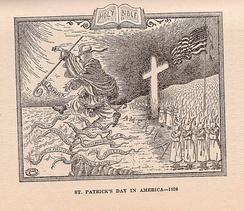 "In this 1926 cartoon, the Ku Klux Klan chases the Roman Catholic Church, personified by St. Patrick, from the shores of America. Among the ""snakes"" are various supposed negative attributes of the Church, including superstition, the union of church and state, control of public schools, and intolerance."