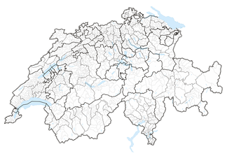 Map of Switzerland showing cantonal, districts and municipal boundaries (2016).