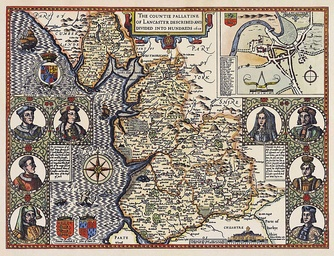John Speed's map of the County Palatine of Lancaster 1610