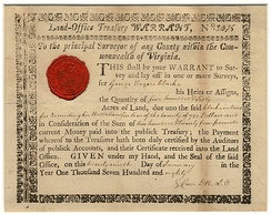 Virginia Land Office warrant to Clark for 560 acres for having raised battalion to fight in the Revolutionary War. January 1780