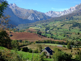 Traditional landscape of the historical province of Béarn, in the department of Pyrénées-Atlantiques