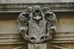 Sir Thomas Powys' coat of arms over front porch