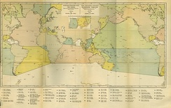 1928 First Edition of Limits of Oceans and Seas with original IHO delineation of Southern Ocean abutting land-masses.[25]