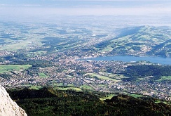View from the Pilatus on the Swiss Plateau near Luzern