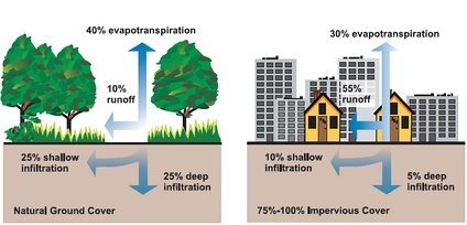 Relationship between impervious surfaces and surface runoff