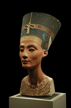 The iconic bust of Nefertiti, claimed by some to be illegally obtained by the Germans during the customary excavations at Tell el-Amarna in 1912.[22][23]