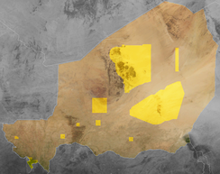 Map of the Republic of Niger's protected areas using polygon data from the WDPA[7]