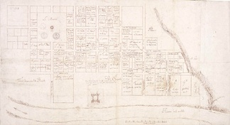Map of Old Mobile Site and Fort Louis drawn in 1704-1705 (right side of map represents north)
