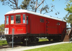 Car #1734 has been turned into the Pacific Electric Museum, at the corner of Main Street and Electric Avenue in Seal Beach, California