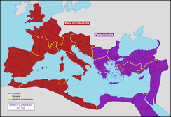 Map of the partition of the Roman Empire in 395, at the death of Theodosius I: the Western Roman Empire is shown in red and the Eastern Roman Empire (Byzantine Empire) is shown in purple