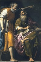 St. Mark writes his Evangelium at the dictation of St. Peter, by Pasquale Ottino, 17th century, Beaux-Arts, Bordeaux.