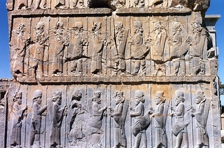 Persian and Median Immortals in ceremonial dress, bas-relief in Persepolis