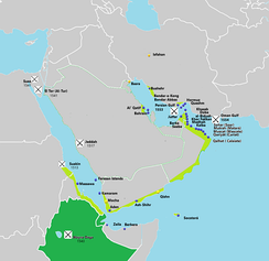 Portuguese in the Persian Gulf and Red Sea.Light Green - Possesions and main cities .  Dark Green - Allieds or under influence.  Yellow - Main Factorys.