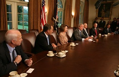 President Bush meets with Congressional members, including presidential candidates John McCain and Barack Obama, at the White House to discuss the bailout, September 25, 2008.[25]