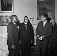 NAACP representatives E. Franklin Jackson and Stephen Gill Spottswood meeting with President Kennedy at the White House in 1961