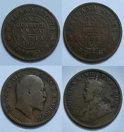 One-quarter anna coins of Sailana state, minted in 1908 and 1912.