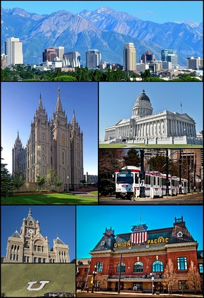Clockwise from top: The skyline in July 2011, Utah State Capitol, TRAX, Union Pacific Depot, the Block U, the City and County Building, and the Salt Lake Temple