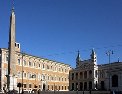 St. John in Lateran square with the Lateran Palace (left) and the Archbasilica of Saint John Lateran (right) and the Obelisk of Thutmosis III in front