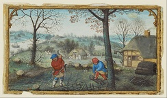 Woodcutting, miniature from a set of Labours of the Months by Simon Bening, c. 1550