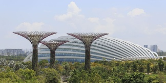Sustainable land management example. Flower domes in the gardens of Singapore.
