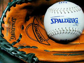 Baseball baseball (ball) and glove, manufactured by Spalding