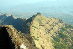Suvela Machi, view of southern sub-plateaux, as seen from Ballekilla, Rajgad