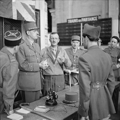 General de Gaulle with General Leclerc and other French officers at Montparnasse railway station in Paris, 25 August 1944