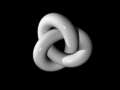 A three-dimensional depiction of a thickened trefoil knot, the simplest non-trivial knot