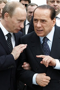 Berlusconi with the Russian President Vladimir Putin in Italy, 2008