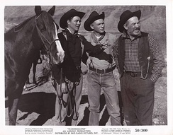 Ben Johnson, Harry Carey, Jr. and Ward Bond in John Ford's Wagon Master, one of the primary cinematic inspirations for the series. John Ford dressed Ward Bond identically to this, with the black hat and checkered shirt, in the Wagon Train episode that Ford later directed.