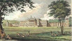 Wentworth Woodhouse, Yorkshire, the largest private house in the United Kingdom.[1] Picture from  A Complete History of the County of York by Thomas Allen (1828–30)
